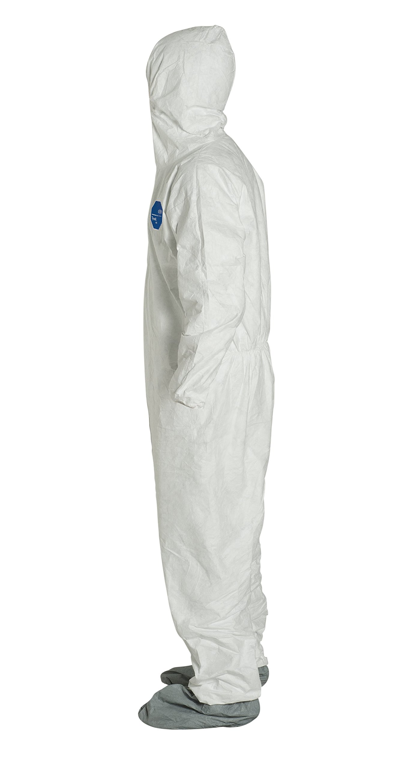 DuPont Tyvek 400 TY122S Disposable Protective Coverall with Elastic Cuffs, Attached Hood and Boots, White, 7X-Large (Pack of 25) by DuPont (Image #3)