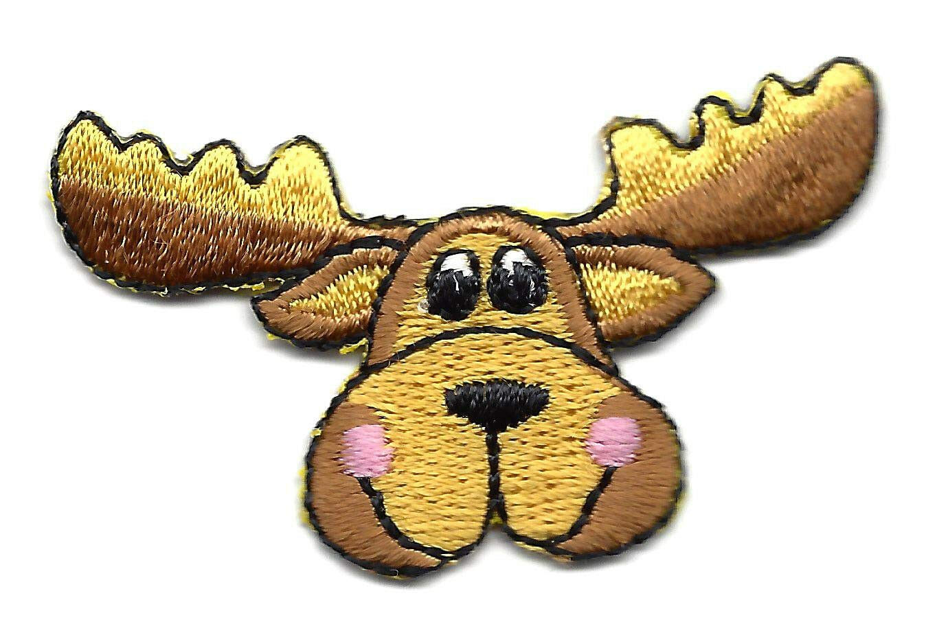 Amazon moose head w antlers iron on embroidered applique