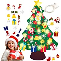 T Tersely DIY Felt Christmas Tree with 5M 50 LED Lights,30pcs Ornaments Christmas Window Wall Hanging Decorations, Xmas…
