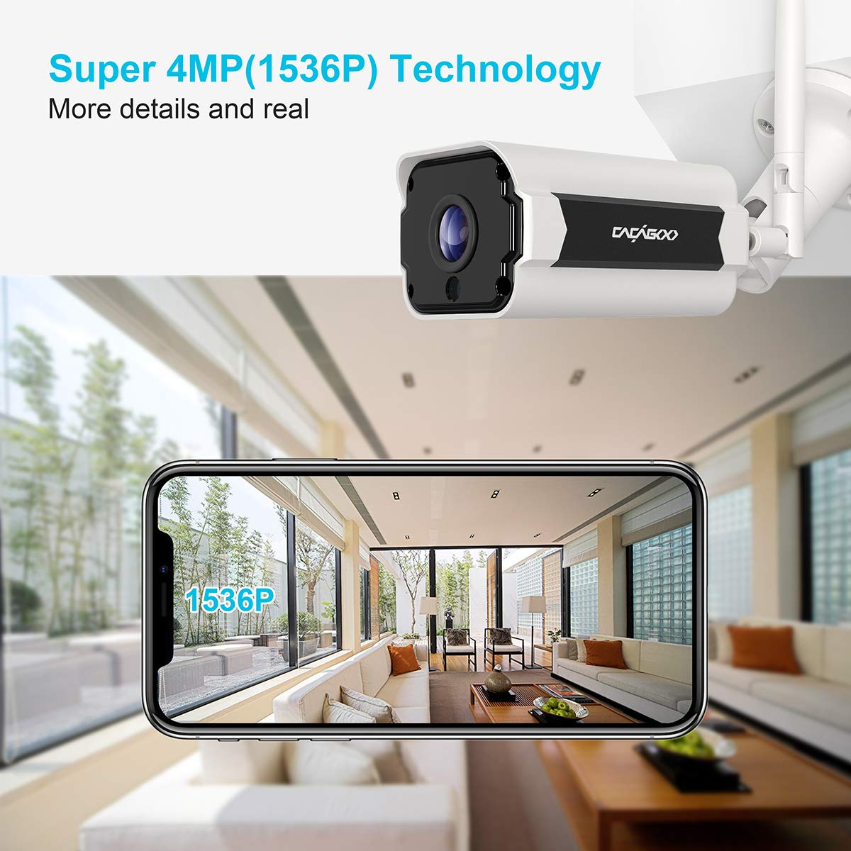 CACAGOO Outdoor Security Camera, 1536P 4MP Wireless WiFi Outdoor Camera,  IP66 Weatherproof, Motion Detection, MicroSD Recording, ONVIF Supported,