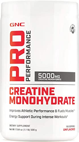 GNC Pro Performance Creatine Monohydrate – Unflavored, 100 Servings, Improves Athletic Performance