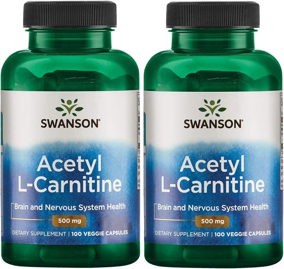 Swanson Acetyl L-Carnitine 500 Milligrams 100 Veg Capsules 2 Pack