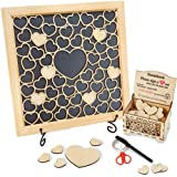 HavenSnug Guest Book Alternative Picture Frame - 55 Small and 1pc Big Wooden Heart for Funeral Guest Book, Memorial Gift…