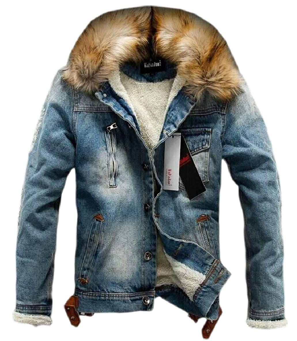 Tymhgt-CA Men Fleece Lined Trucker Faux Fur Collar Jackets Denim Casual Outwear