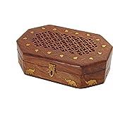 Store Indya, intagliato a mano scatola di immagazzinaggio organizzatore di monili di legno con intarsi in ottone motivo elefante