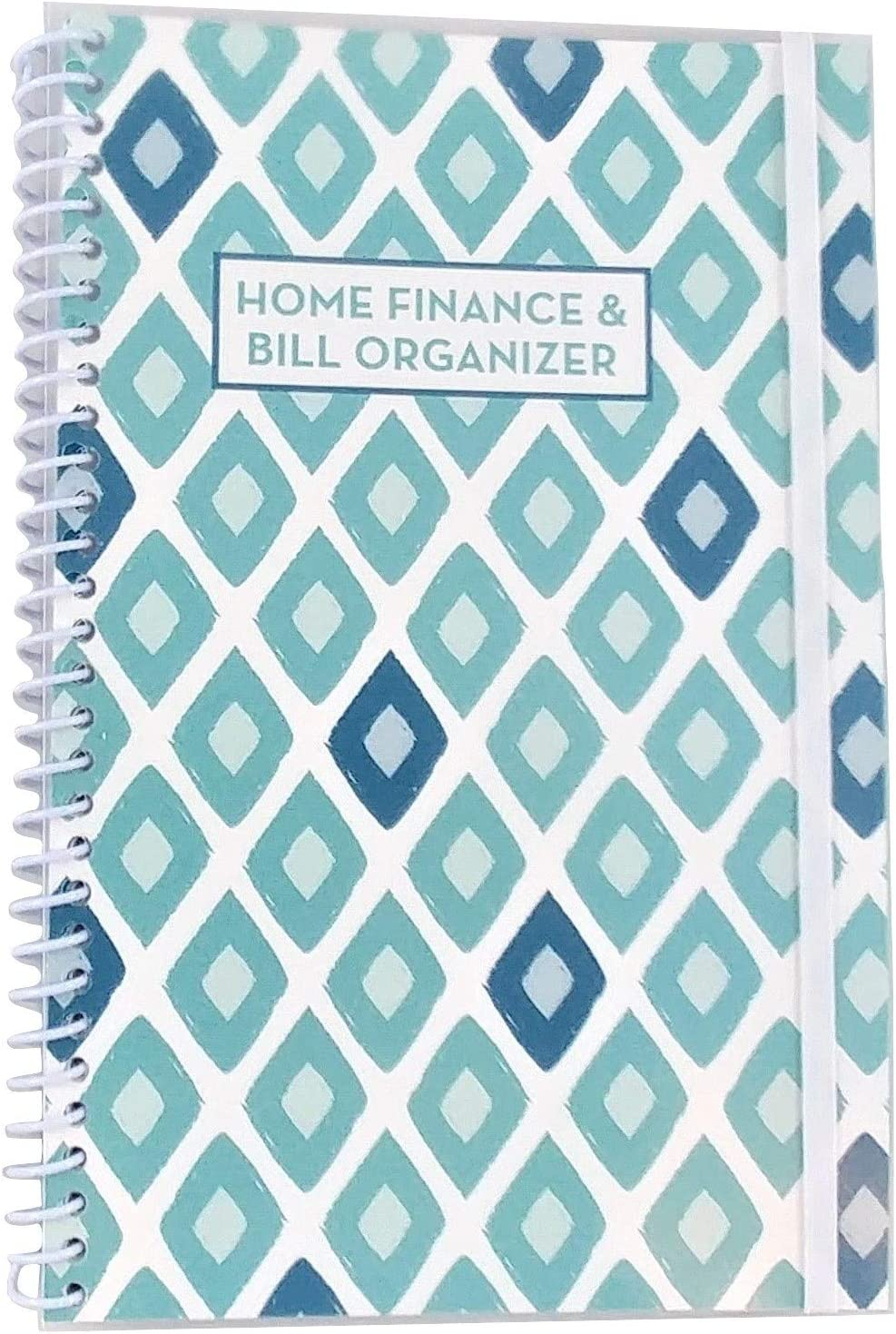 Home Finance & Bill Organizer with Pockets (Blue Painted Diamonds)