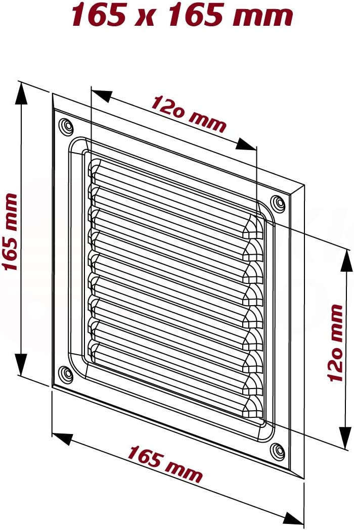 MKK Lamellen L/üftungsgitter Edelstahl poliert 150 x 150 mm 195 x 195 mm Wetterschutz Abluft Gitter Haube Insektennetz Luft Schlitz K/üche Bad WC