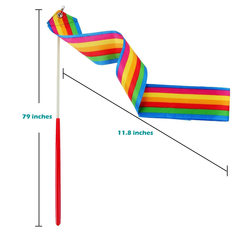 Grosun 8Pcs Rhythmic Gymnastic Ribbons Dance Ribbon Dance Streamers with Baton Twirling