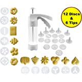 JJMG NEW Comfort Grip Stylish Cookie Press Kit Cake Cookies Making Decorating Gun – 12 Discs and 6 Icing tips