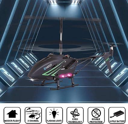 GRTVF Juguete de avi/ón de 3.5 canales con giroscopio y luces LED mini helic/óptero de control remot regalos para principiantes de ni/ños y adultos.Helic/óptero de control remoto de aleaci/ón de aluminio