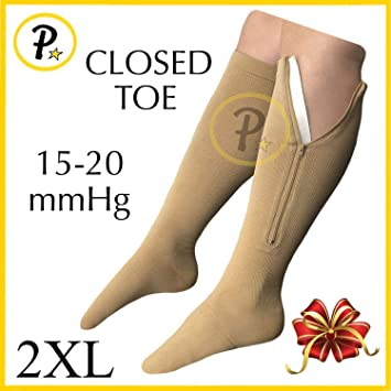 17f0506e3304d5 Presadee Closed Toe 15-20 mmHg Zipper Compression Leg Swelling Circulation  Fatigue Knee Length Stocking