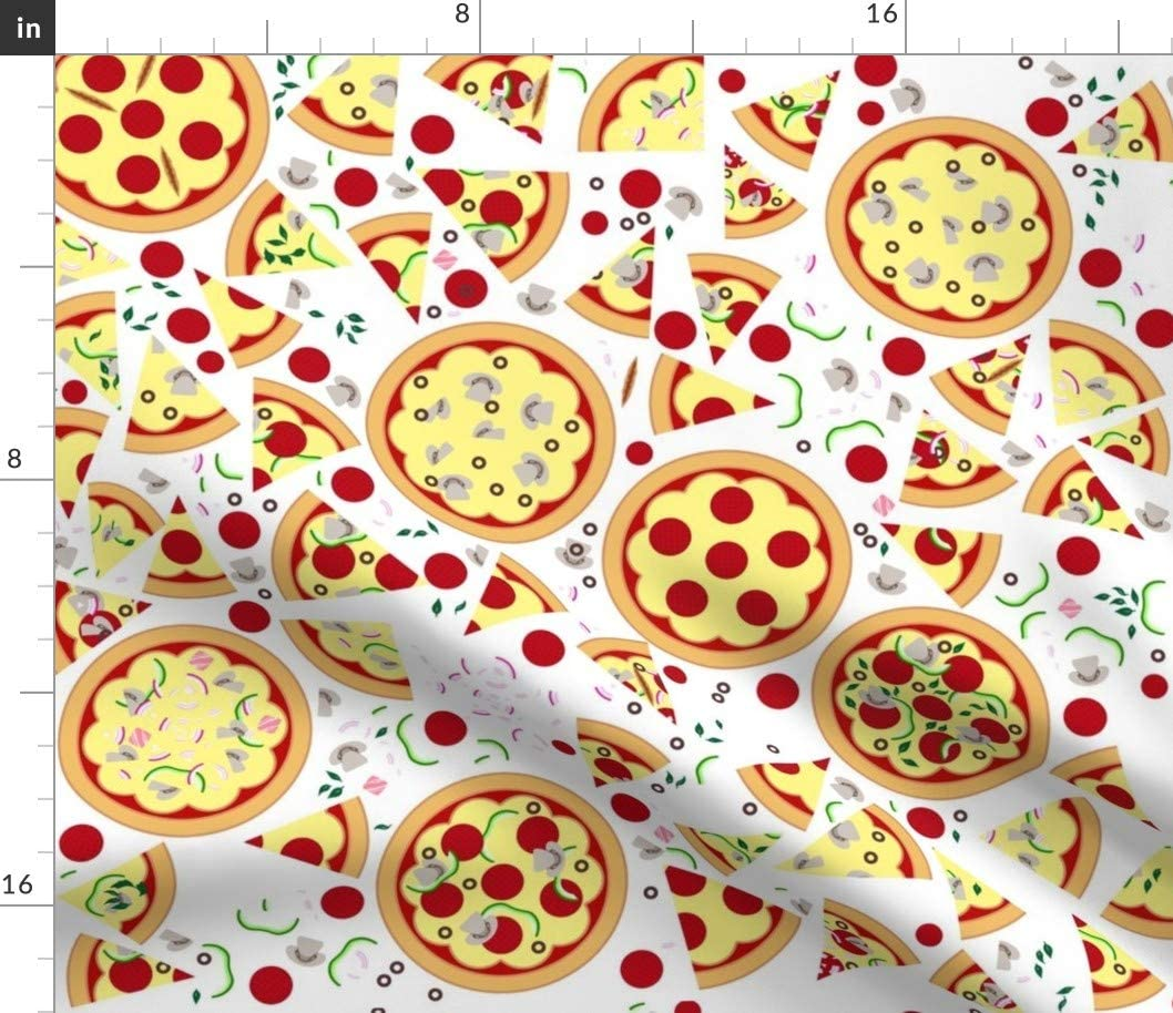 Spoonflower Fabric - Pizza Pepperoni Mushrooms Food Cheese Kids Party Printed on Organic Cotton Knit Fabric by The Yard - Baby Blankets Clothing Apparel T-Shirts