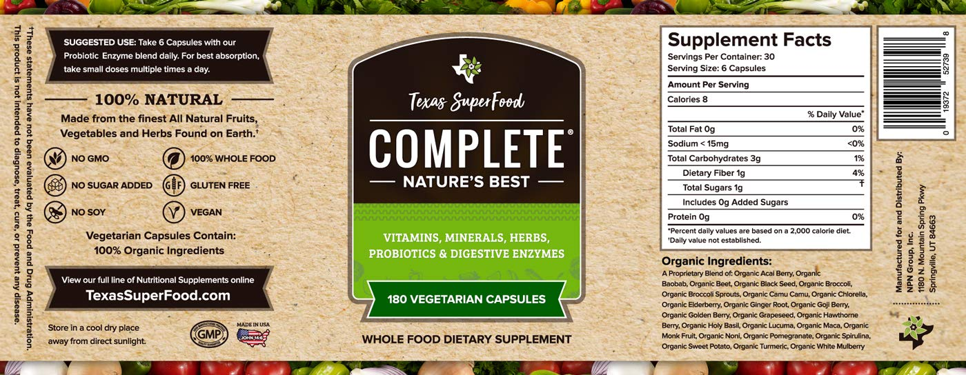 Texas SuperFood - Complete Organic Capsules, Vitamins Minerals Herbs Probiotics & Digestive Enzymes, Non-GMO, Gluten Free, Vegan, 180 Vegetarian Capsules