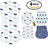 iZiv 4 Pack Baby Burp Cloths Feeding Nursing Towel Accessory, 3 Layers Absorbent Printing Soft Cotton 0-2 Years (Color-7)
