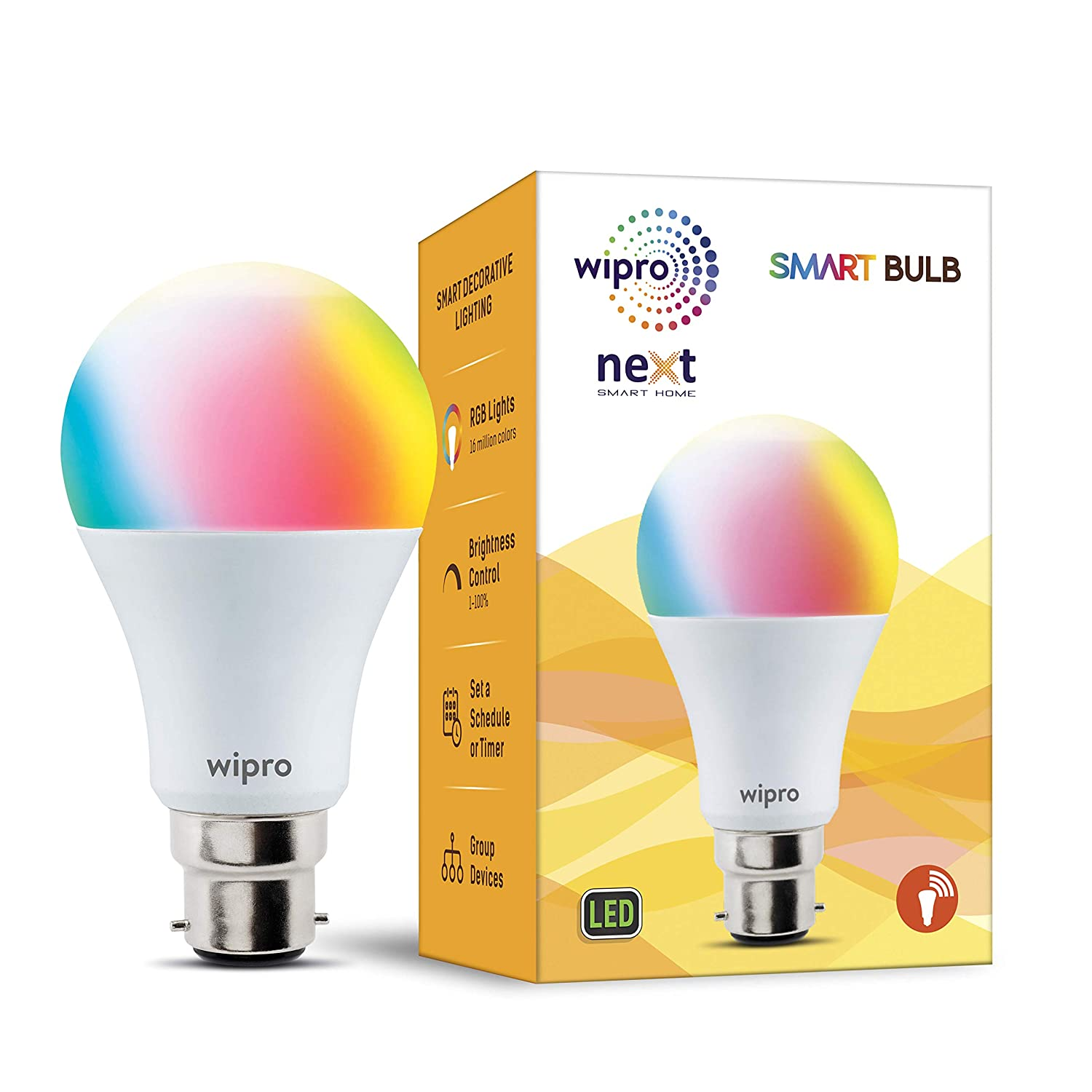 Amazon - Amazon: Wipro WiFi Enabled Smart LED Bulb B22 12-Watt (16 Million Colors + Warm White/Neutral White/White) (Compatible with Amazon Alexa and Google Assistant)