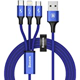 Baseus ライトニングケーブル Micro usb ケーブル Type c ケーブル 3in1 ケーブル 3A急速充電 対応 iOS - Lightning iPhone 充電 高速データ転送 と Android 充電 多機種対応 1.2m (ブルー)