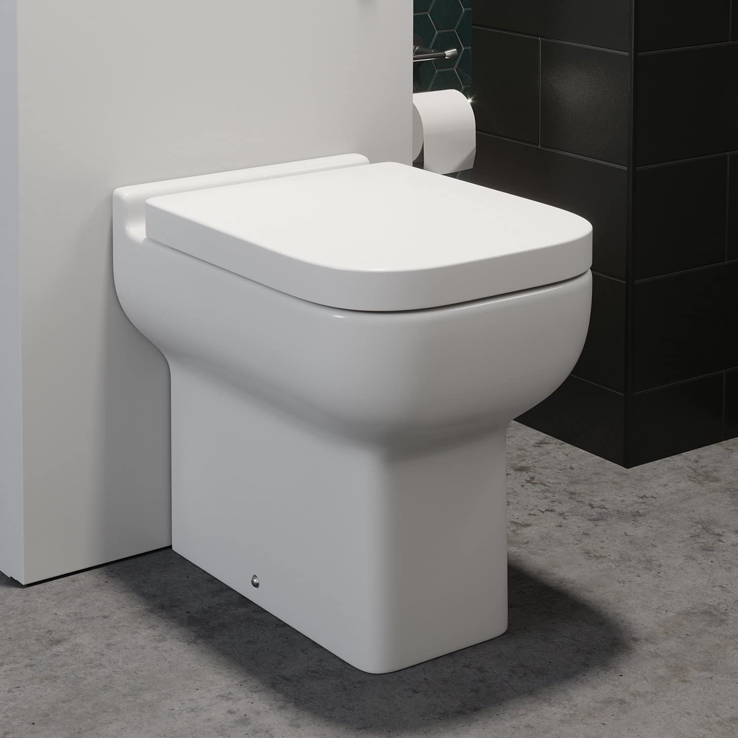 Modern Back to Wall Toilet BTW Pan Bathroom WC Curved Soft Close Top Mounted Seat Ceramic White