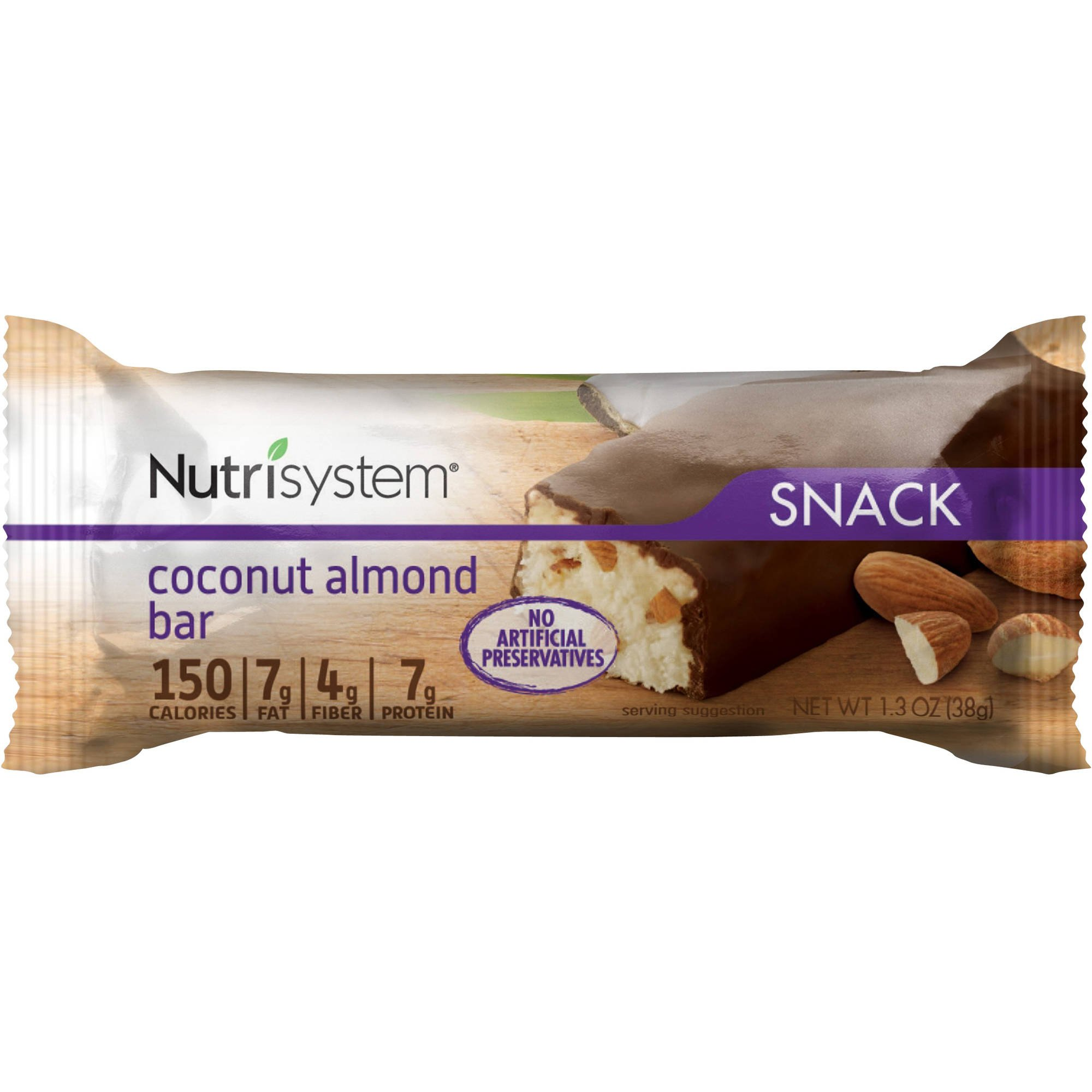Nutrisystem Snack Coconut Almond Bar, 4 Bars (Pack of 2)