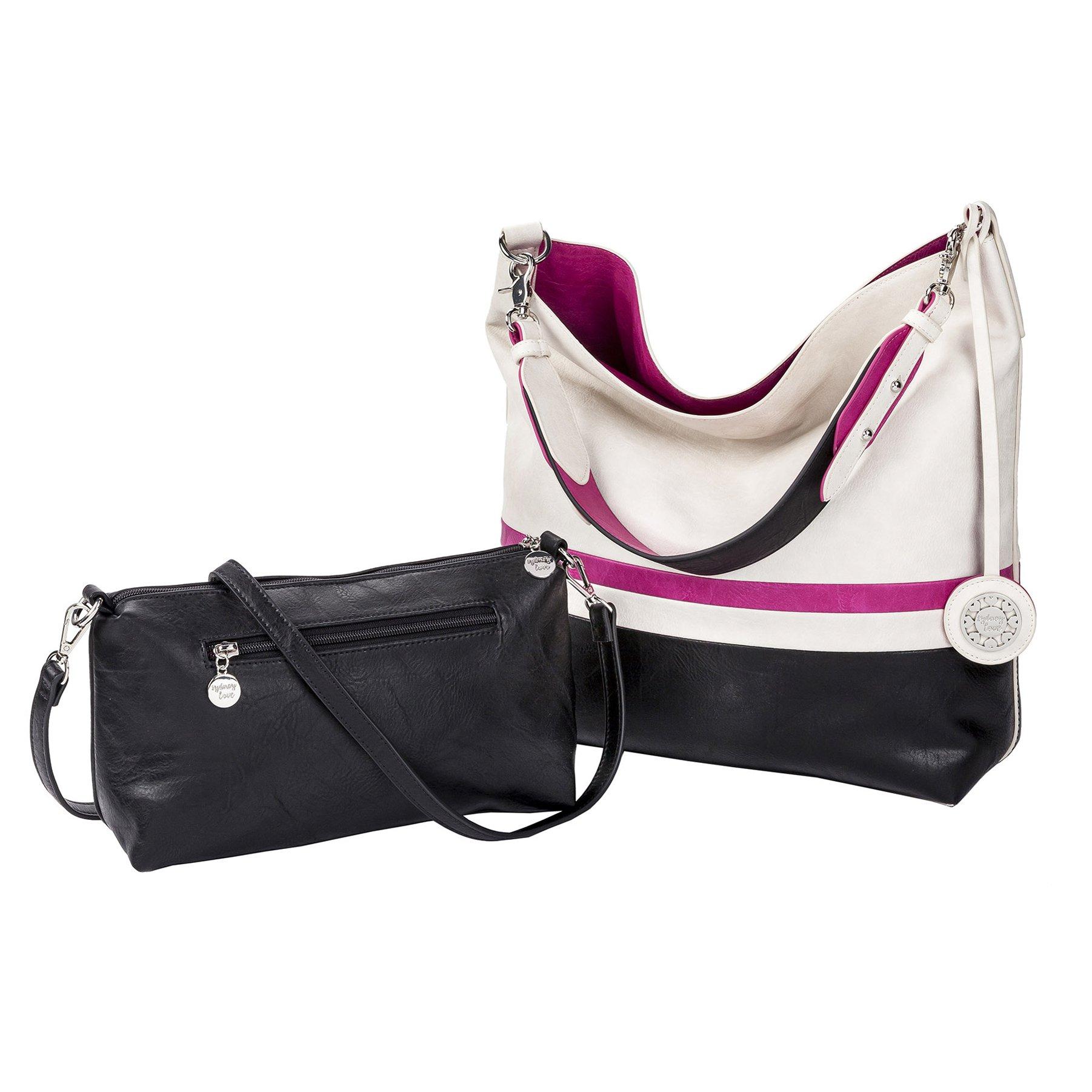 Sydney Love Bright Colorblocked Reversible Hobo & Crossbody Bag Set, White/Fuchsia/Black