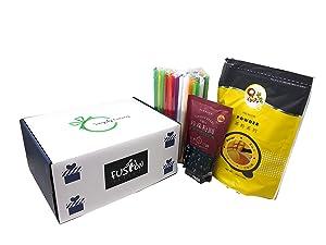 Qbubble Tea Mango Powder 2.2 Pound With 50pcs Bubble (Large) Straw and WuFuYuan - Tapioca Pearl (Black) - Net Wt. 8.8 Oz in Fusion Select Gift Box