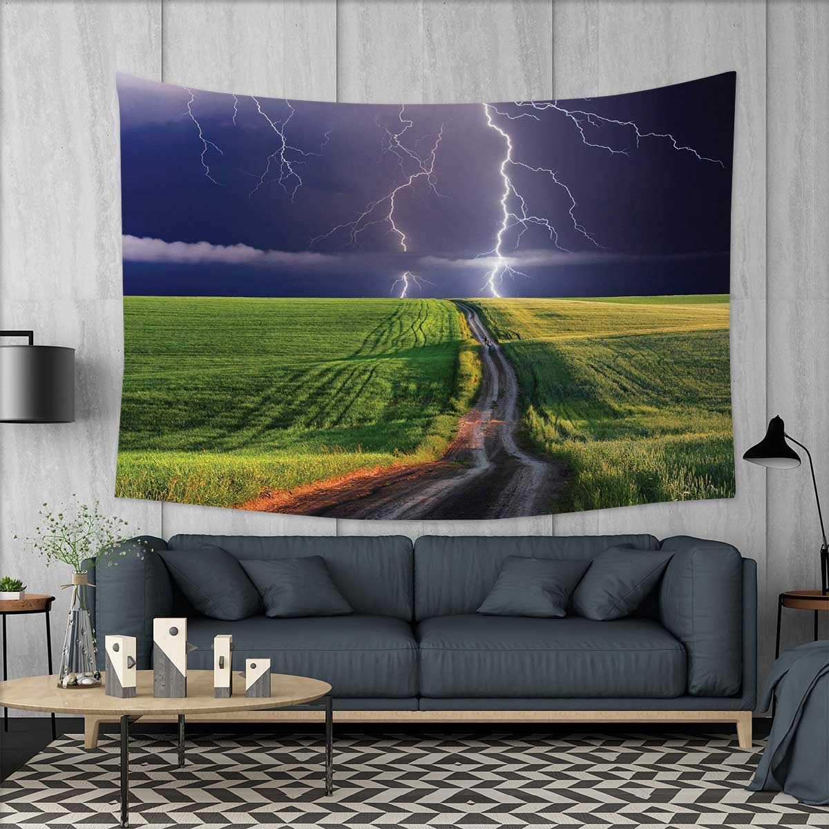 Anniutwo Nature Art Wall Decor Summer Storm About to Appear with Flash on The Field Solar Illumination Energy Theme Tapestry Wall Tapestry W60 x L51 (inch) Green Blue