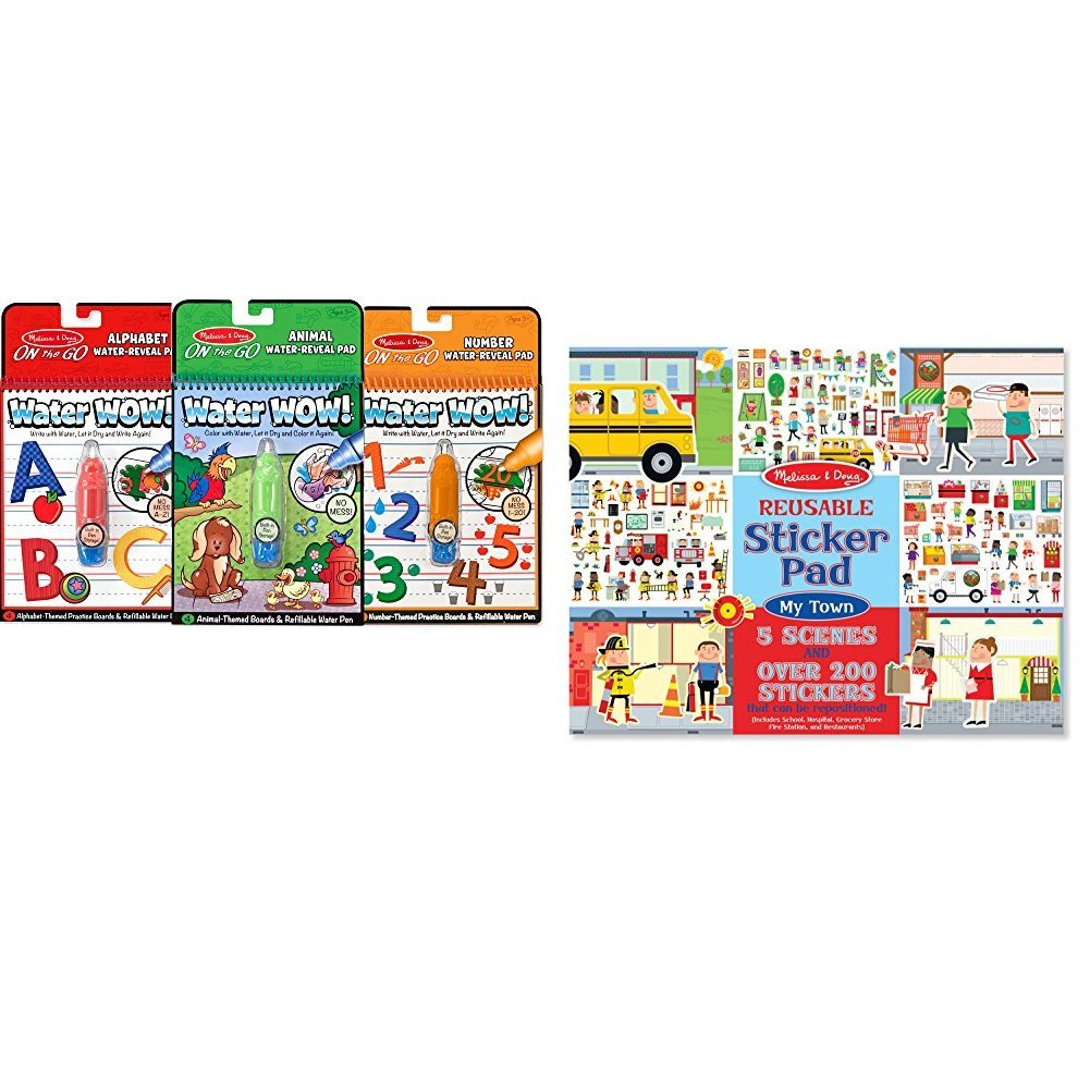 Melissa & Doug On the Go Water Wow! Activity Book, 3-Pack - Animals, Alphabet, and Numbers with Melissa & Doug Reusable Sticker Pad: My Town - 200+ Stickers and 5 Scenes Bundle