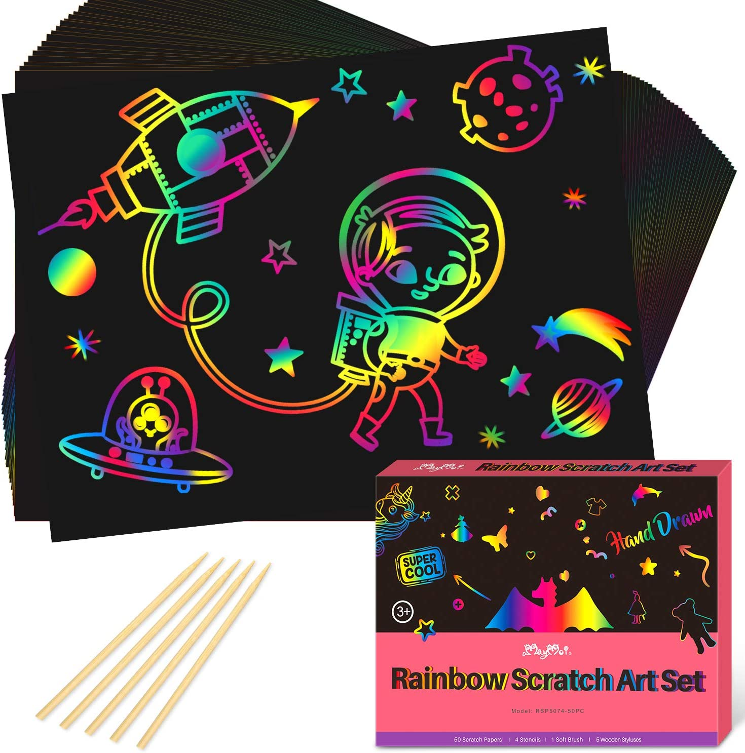 Scratch Art for Kids 60PCS Christmas Magic Rainbow Arts and Crafts Paper DIY Drawing Ornaments Black Cards Kit with 10 Wooden Stylus /& 60 Colorful Ribbon for Xmas,Birthday Party Decorations Supplies