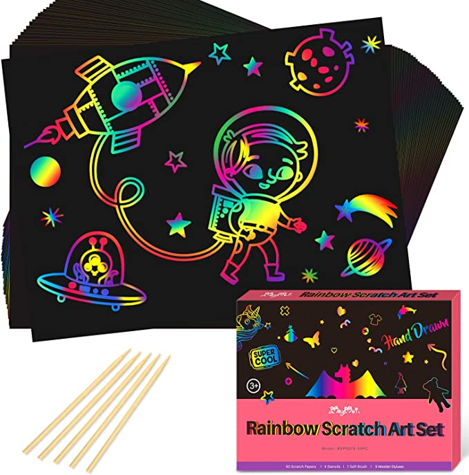 15 Gold and 15 Silver Scratch Paper tao pipe 69PCS Scratch Art Paper Set DIY Painting Crafts Kits 30 Sheets Rainbow 4 Stencil Rulers and 5Wooden Stylus
