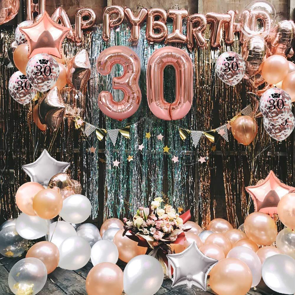 MMTX Globos De Cumplea/ños 30 A/ños Feliz Cumplea/ños Decoracion Regalo 18 Regalos Cumplea/ños Mujer Oro Rosa con Guirnalda Banner De Cumplea/ños para Fiesta,Manteles,Confetti,Globos de L/átex Impresos
