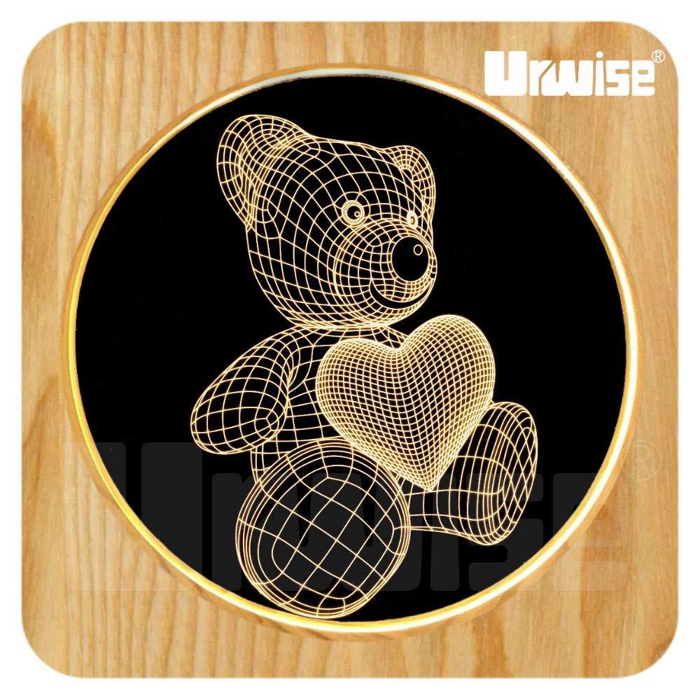 Urwise Care Bears 3D LED Bed Lamp,Creative Wooden Photo Frame Desktop Lamp,USB Night Light for Bedroom Home Decor,Kids Girls Adult Gift AW3094