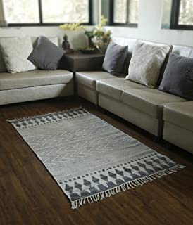 Store Indya Cotton Traditional Carpet In Black And White Tribal Design With Tassels Hand Woven Rug
