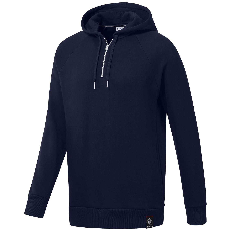 Reebok Men's 1/2 Zip Over The Head Hoodie Sweater, Collegiate Navy, XL/TG DH2066