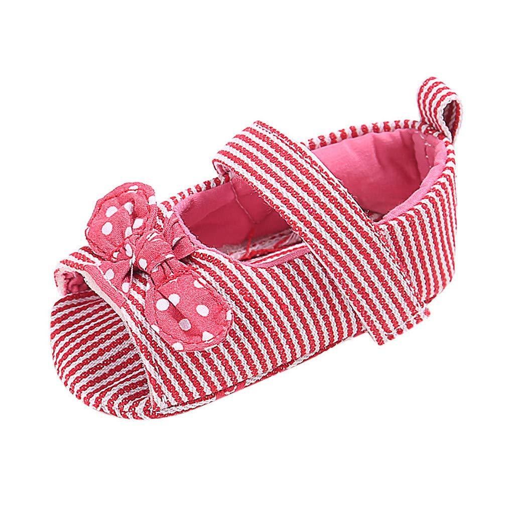 Amazon.com: MALLOOM Open Toe Princess Flat Baby Girls Stripe ...