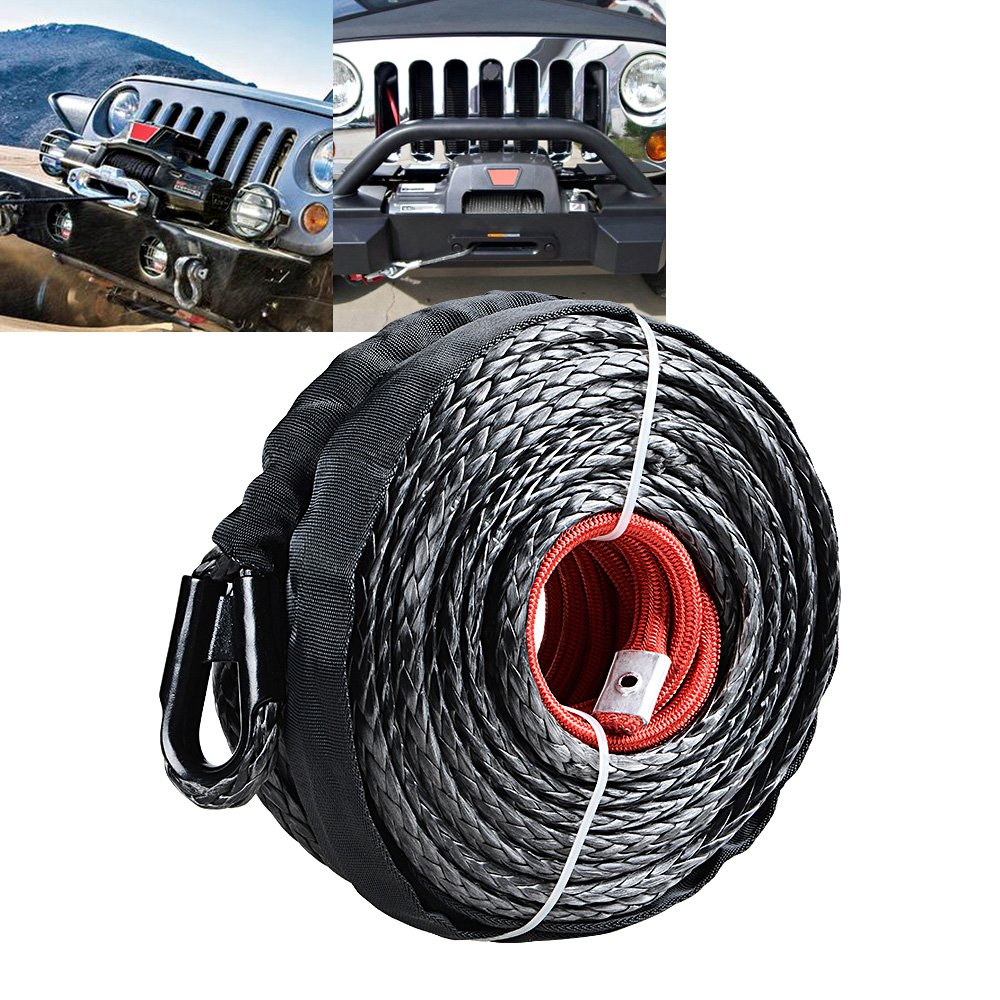 95ft x 3//8 Black Synthetic Winch Rope Line Cable w//Rock Heat Guard 20500LBs Recovery Truck 4x4 ATV UTV