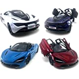 HCK Set of 4 2017 Mc Laren 720S - Pull Back Toy Sports Cars 1:36 Scale (Red/Indigo/White/Blue)
