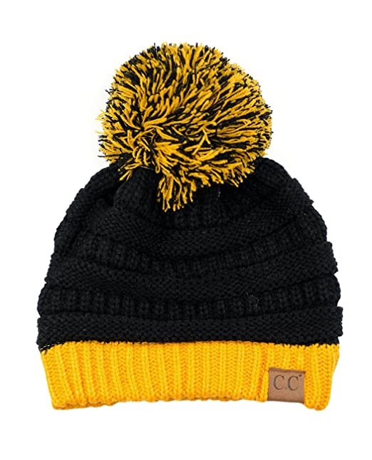 C.C Unisex College High School Team Color Two Tone Pom Pom Knit Beanie Hat 6762b0e297a