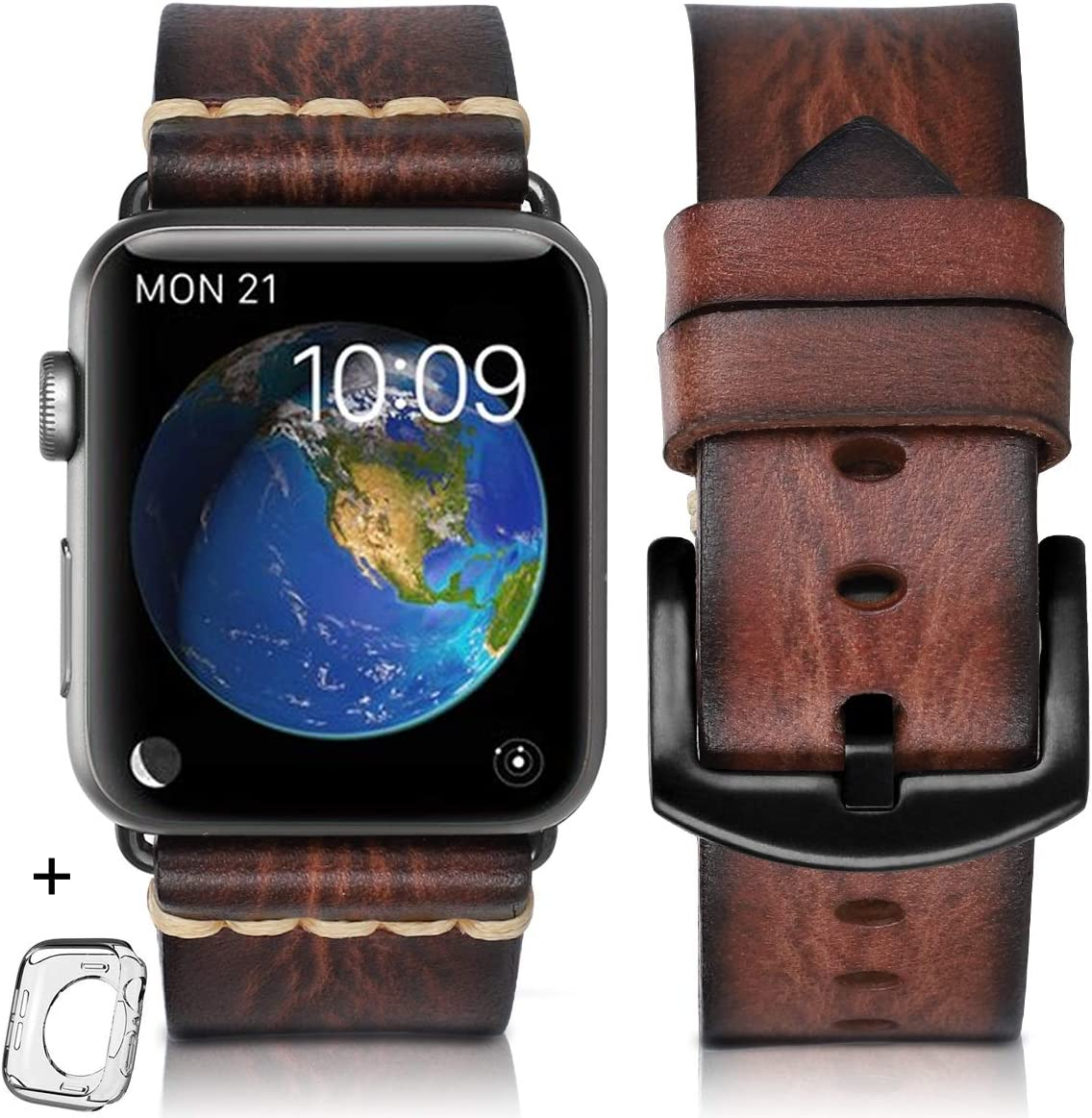 HUAFIY Compatible iWatch Band 42mm 44mm 38mm 40mm Men, Top Grain Leather Band Replacement Strap iWatch Series 5/4/ 3/2/1,Sport, Edition.New Arrival (Brown, 42mm 44mm)