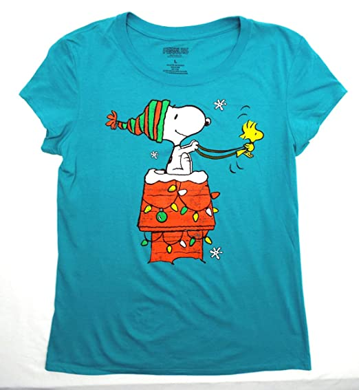 ea73254780d801 Peanuts Snoopy Santa & Woodstock Christmas Juniors Women's T-Shirt ...