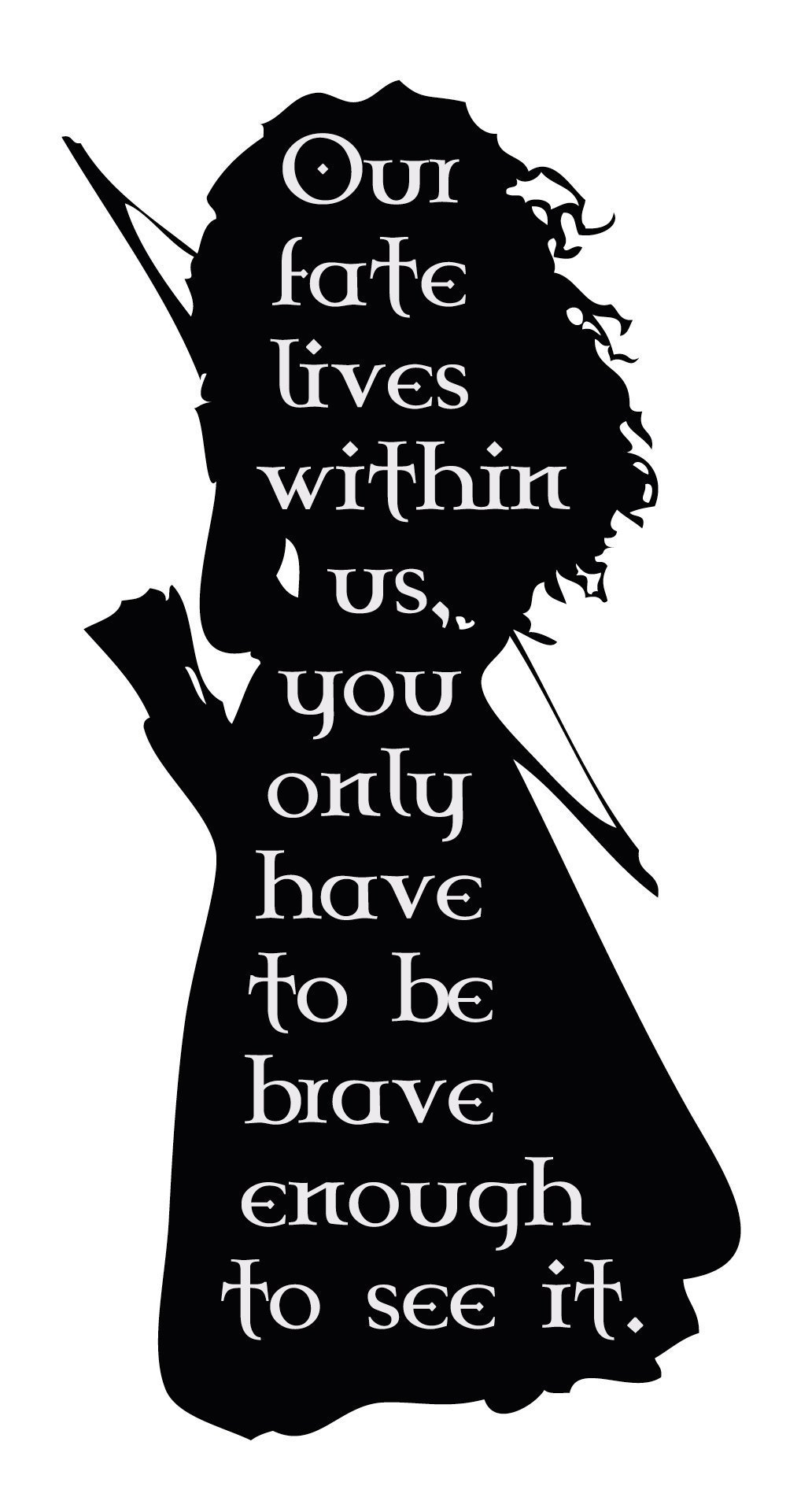Personalized Wall Decal for Girls Room - Merida Heroine from Brave Movie -''Our Fate Lies Within Us'' Vinyl Wall Lettering Decal - Decor for Girls Room, Baby Nursery