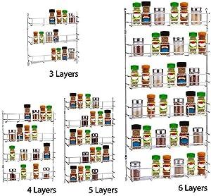 WICHEMI 6 Tier Spice Rack Wall Mount Spice Storage Shelf Holder Rack Kitchen Seasoning Hanging Rack Cabinet Countertop Worktop Display Organizer Spice Bottles Holder Stand Shelves