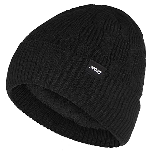 479cf71ed Bodvera Winter Warm Slouchy Beanie Hat Oversized Cable Knit Hat Thick Soft  Stretch Cuff Skull Cap
