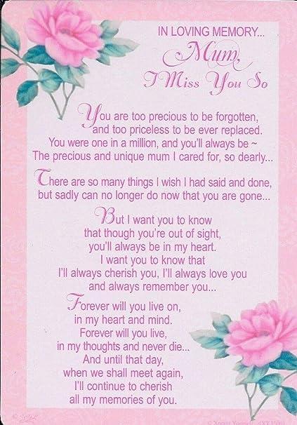 Madre tarjeta de memoria sepelio. En memoria mamá te extraño ...