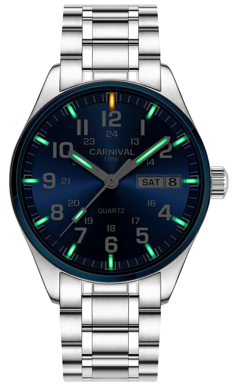 PASOY Men's Luminous Tritium Waterproof Sapphire Glass Blue Dial Stainless Steel Quartz Military Watches (C2)