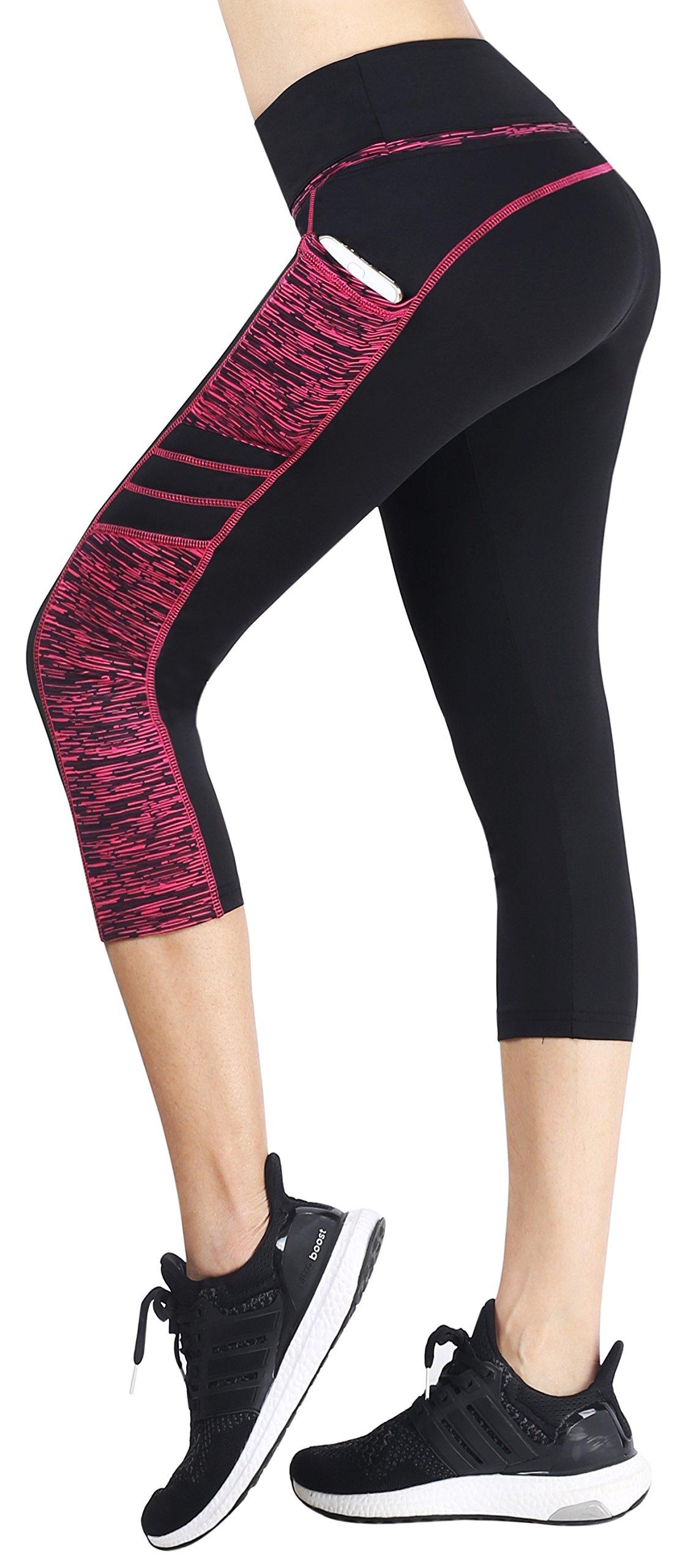 Sugar Pocket Women's Capris Tights Workout Running Leggings Yoga Pants M (BK/Rose)