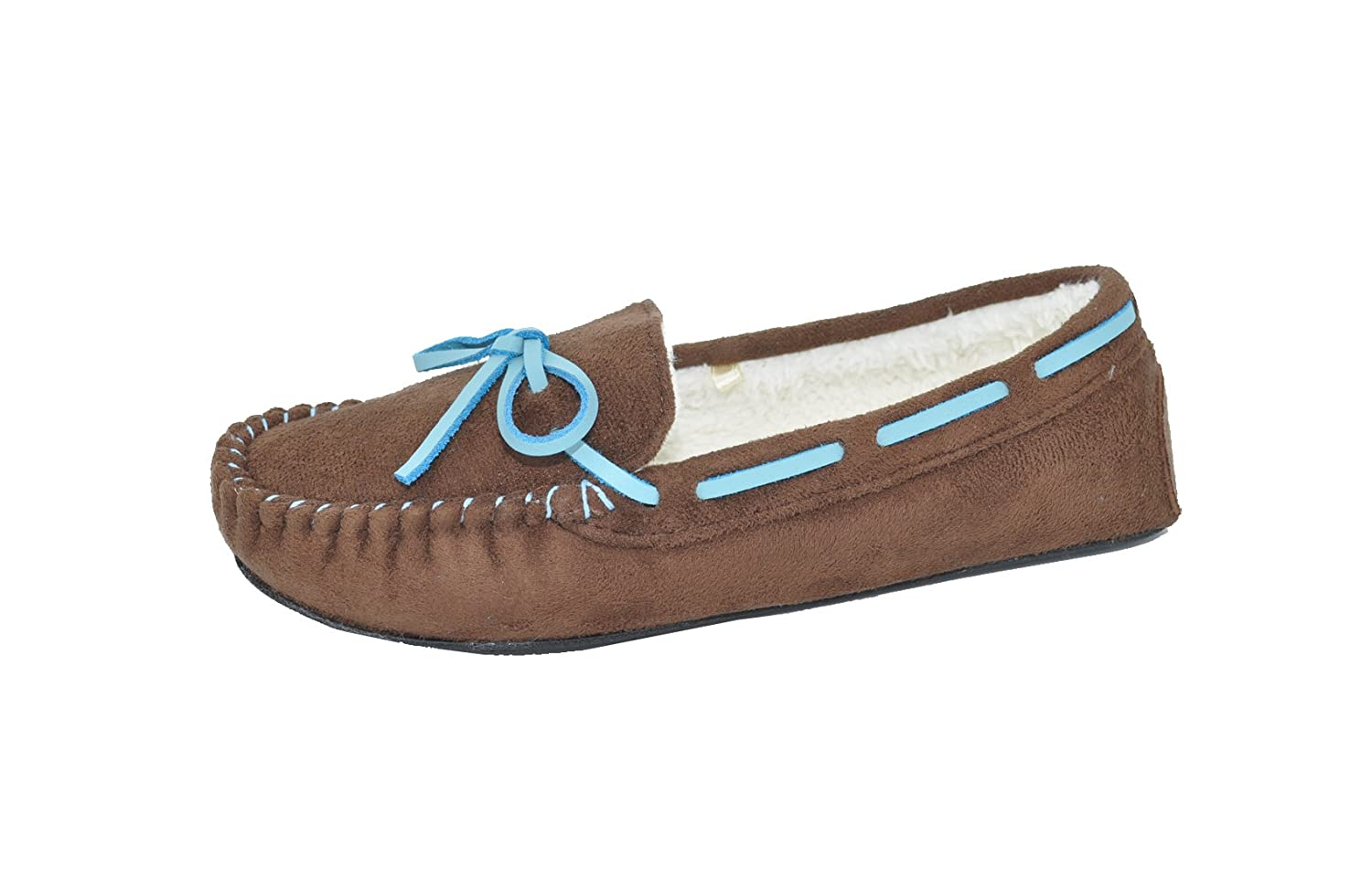 Gold Toe Women Faux Fur Lined Moccasin Slipper With Memory Foam