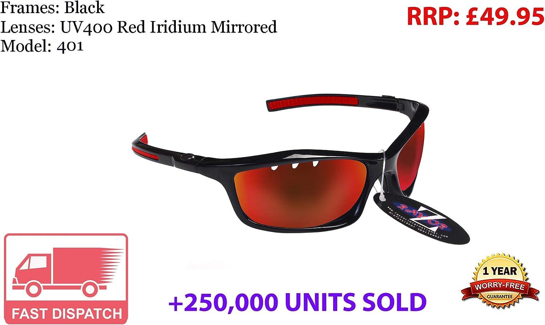 Rayzor - Gafas de sol para deportes, protección UV400, antirreflejos, lente ahumada con ventilación, color azul, Black (401)