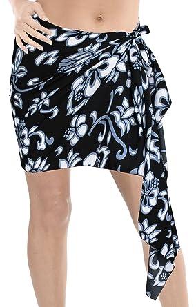 e0bb13f0f9 LA LEELA Women s Floral Beachwear Bikini Swimsuit Swimwear Scarf Mini Wrap  Sarong Black