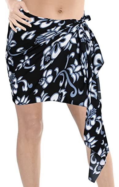 "4f0e328383 LA LEELA Likre Surf Scaf Beachwear Wrap Girl Sarong Printed  78""X21"" Black_415"
