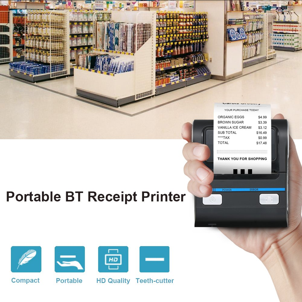 Docooler Wireless Thermal Printer Receipt Printer Thermal Printer For Shopping Malls Supermarkets Take-away Delivery