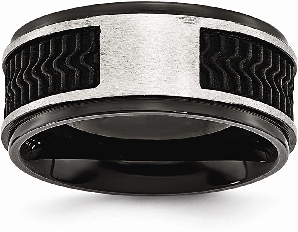 Bridal Wedding Bands Fancy Bands Stainless Steel Black IP-plated with Rubber Inlay Ring Size 10